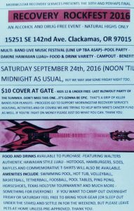 Morningstar Recovery Rockfest 2016 in Clackamas - Flyer - Sept 24 2016 (Friday and Saturday) Noon to Midnight